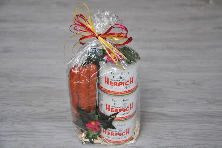 Geschenkkorb klein Brotzeit | Onlineshop Metzgerei Herpich in Hof